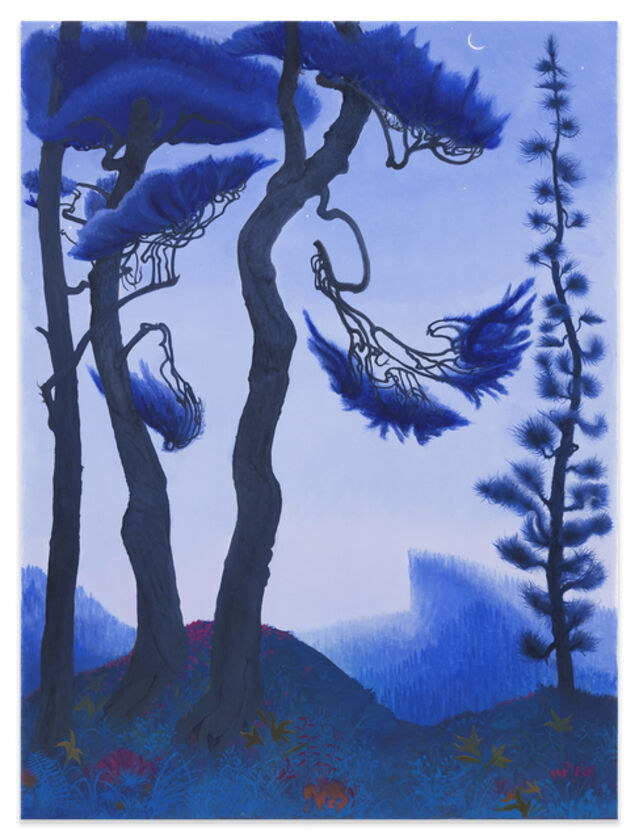 Inka Essenhigh | Blue Spruce and Waning Crescent Moon (2021) | Available for Sale | Artsy