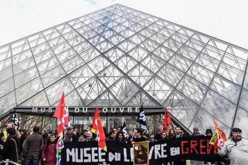 The Louvre closed as workers went on strike to protest pension reforms.