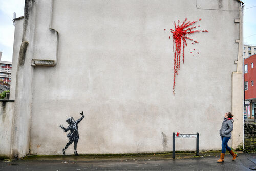 Banksy created a Valentine's Day mural in Bristol.