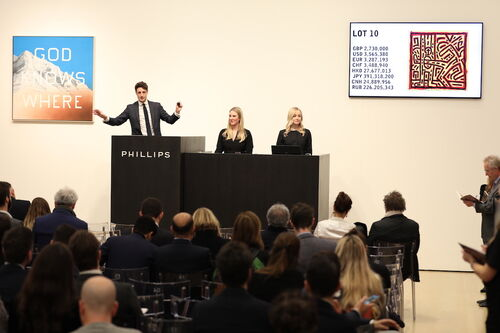 Amoako Boafo's auction debut sparked a frenzy at an otherwise tepid Phillips sale in London.
