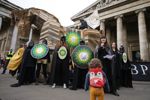 Climate activists occupied the British Museum in protest of its sponsorship agreement with BP.