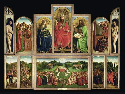 The restoration of the Ghent Altarpiece revealed a lamb's disturbingly humanoid eyes.