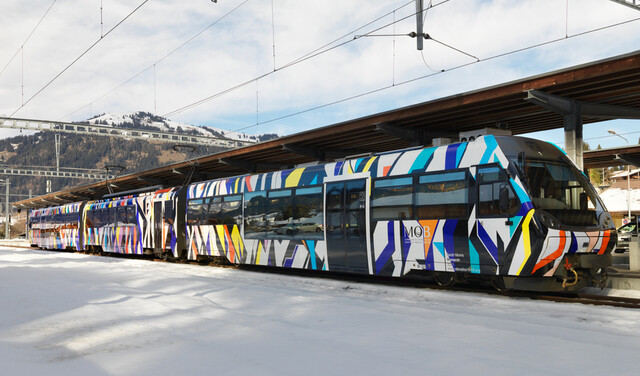 Sarah Morris Made an Art Train for the Most Beautiful Route in the Alps