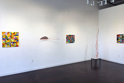 """""""Reaction of Rhythm"""", new paintings by Mark L. Emerson & """"Distant Shores"""", new sculpture by Dean DeCocker"""