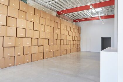 "Zimoun: 208 Prepared DC-Motors, Cotton Balls, Cardboard Boxes 20"" x 20"" x 20"""