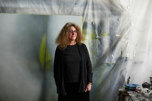 """Betty Tompkins on Her """"Fuck"""" Paintings, Art Talk, and Being Discovered by Jerry Saltz"""
