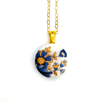 """Melanie Sherman, 'Necklace Blue & Gold Flowers Gold Filled 18"""" Link Chain Stoke On Trent Porcelain Jewelry Ceramic ', 2019"""