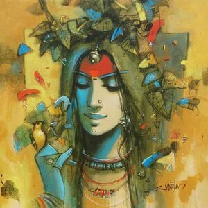 "Subrata Das, 'Radha, Acrylic on Canvas by Contemporary Indian Artist ""In Stock""', 2010-2020"