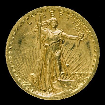 "Augustus Saint-Gaudens, '""Double Eagle"" Twenty Dollar Gold Piece [obverse]', model 1905, 1907, struck 1907"