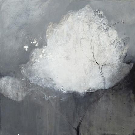 Nathalie Deshairs, 'Fleur blanche fond gris', 2020