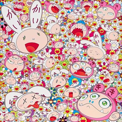Takashi Murakami, 'There's bound to be difficult times There's bound to be sad times but we won't lose heart; we'd rather not cry, so laugh, we will!', 2018