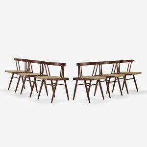 George Nakashima, 'Grass-Seated chairs, set of six', c. 1967