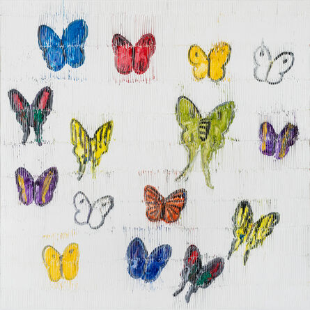 Hunt Slonem, 'White Butterflies', 2021