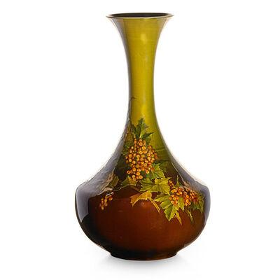 Kataro Shirayamadani, 'Early Standard Glaze Light vase with fruiting viburnum branches, Cincinnati, OH', 1889