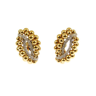 Cartier, 'Pair of mid-20th century gold bead and diamond cluster earrings by Cartier, Paris c.1960, of navette shaped outline formed of two rows of graduated gold beads, two curved lines of diamonds within, signed 'Cartier Paris', French assaymarks, serial number 03255, Crossed C's workshop mark for Cartier', ca. 1960