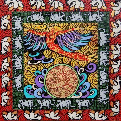 "Seema Kohli, 'Yogini, Acrylic & Ink on canvas, Gold & Silver leaf, Red, Green, Violet ""In Stock""', 2017"
