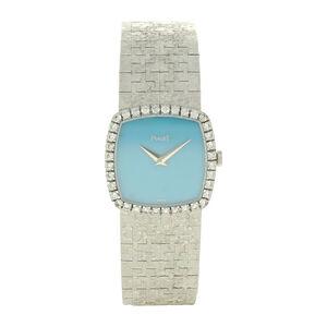 Piaget, '18ct white gold turquoise dial diamond set ladies bracelet watch.', ca. 1970