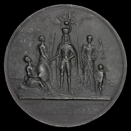 Nicolaus Seeländer, 'The King Being Crowned between Peace and Justice [reverse]', 1714