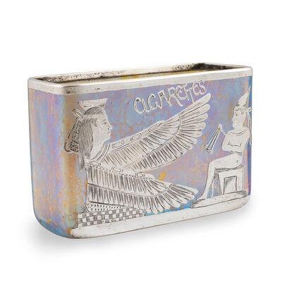 "Loetz, 'Loetz Vase Candia Papillon ""Cigarettes"" complex Silver Overlay Egyptian Revival strong Iridescence', ca. 1900"