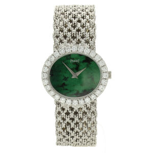 Piaget, '18ct white gold and diamond set bracelet watch with jade dial.', ca. 1970