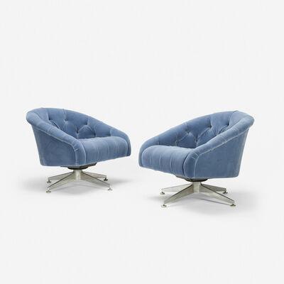 Ward Bennett, 'swivel lounge chairs, pair', c. 1965