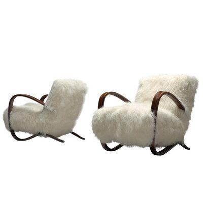 Jindrich Halabala, 'Exclusive Jindrich Halabala Lounge Chairs with Tibetan Lambswool', 1930