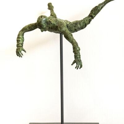 Sylvain Louis Seize, ' Equilibrium No 2 - small, lively, figurative, male, bronze, sculpture series', 2017