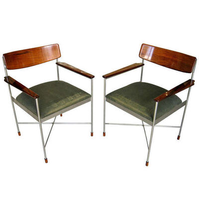 Ico Parisi, 'Pair of Steel and Lacquered Rosewood Armchairs', 1960s