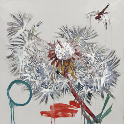 Hung Liu 刘虹, 'Dandelion with Red Dragonfly (silver)', 2020