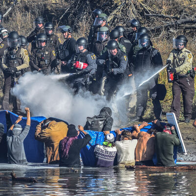 Ryan Vizzions, 'Native American Water Protectors attempt to gain access to Turtle Hill, where many of their ancestors are buried, to pray, 2016.'