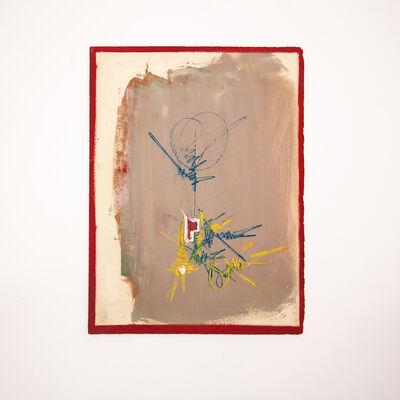 Georges Mathieu, 'Composition sur fond crème à motifs jaune, bleu, rouge et blanc, dans un encadré rouge', ca. 1970