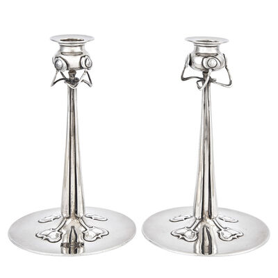Liberty & Company, 'Pair of Liberty and Co., Cymric Pattern Sterling Silver Candlesticks, Design attributed to Rex Silver, Birmingham', 1901
