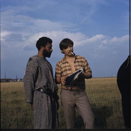 "Peter Gauhe, 'Rainer Werner Fassbinder and El Hedi Ben Salem on the set of ""The Merchant of Four Seasons"" ', 1971"