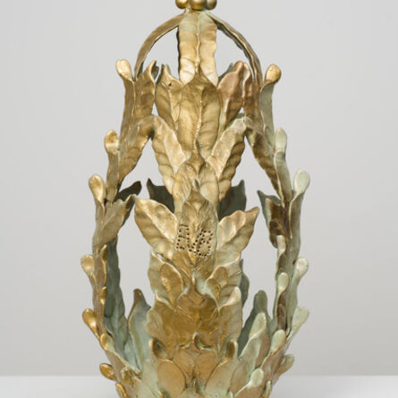 Eugene Von Bruenchenhein, 'Untitled (Green and gold closed-top vessel)', n.d.