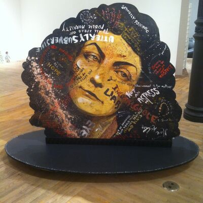 Molly Crabapple, 'Portraits of myself and Lola Montes with things said about us by our contemporaries', 2014