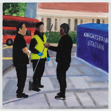 Jay Lynn Gomez, 'A conversation between three workers (Knightsbridge Station)', 2018