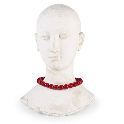 Varujan Boghosian, 'Cast Plaster Female Head Adorned with Ground Coral Beads', 1996