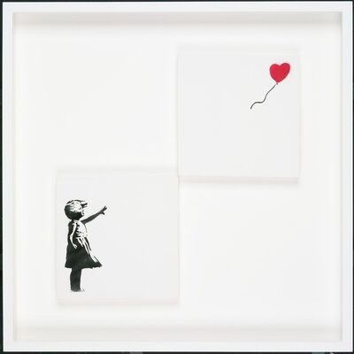 Banksy, 'Girl with Balloon (Diptych) Painting', 2005