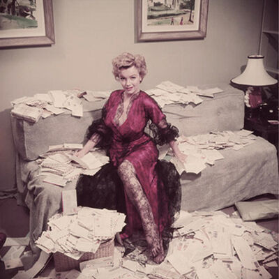 """Slim Aarons, 'Fan Mail, 1952: Marilyn Monroe sorts out her fan mail shortly after her film """"The Asphalt Jungle"""" had been released, Beverly Hills', 1952"""