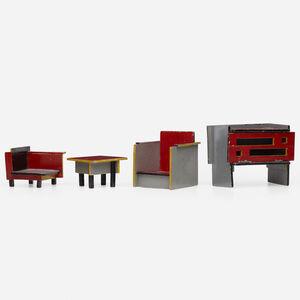 Ko Verzuu, 'Dollhouse furniture, collection of four'