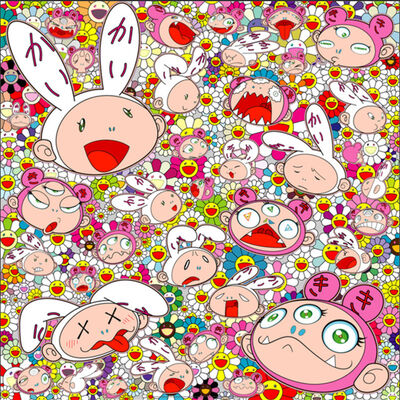Takashi Murakami, 'THERE'S BOUND TO BE DIFFICULT TIME THERE'S BOUND TO BE SAD TIMES BUT WE WON'T LOSE HEART; WE'D RATHER NOT CRY, SO LAUGH, WE WILL!', 2018