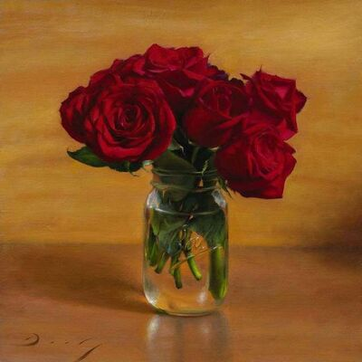 Joseph Q. Daily, 'Still Life with Roses and Mason Jar', 2018