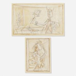 Luis Martinez Pedro, 'Brujo Caracolero; Hombre con Gallo en la Boca (two works)', 1949