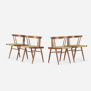 George Nakashima, 'Grass-Seated chairs, set of four', 1956