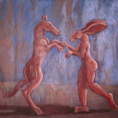 Sophie Ryder, 'Pink Lady-Hare Dancing with Big Brown Dog', 2000