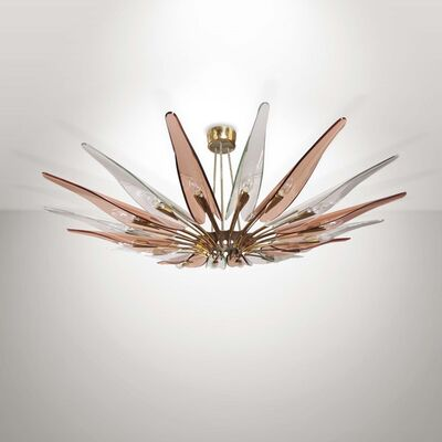 Max Ingrand, 'a mod. 1563/A Dahlia lamp in polished and nickeled brass with coloured, curved and cut crystal diffusers', 1954