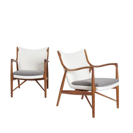 Finn Juhl, 'Pair of NV-45 chairs', 1945