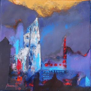 Somenath Maity, 'Structure II, abstract, acrylic in blue, brown & red color by famous Indian painter Somenath Maity', 2017