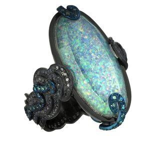 William Ehrlich, 'Opal and Diamond Zig Zag Ring'