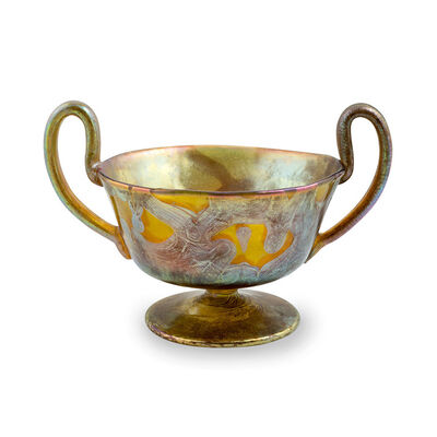 Loetz, 'Loetz Vase with handles ca. 1900 PhenomenGre 29 restored signed', ca. 1900